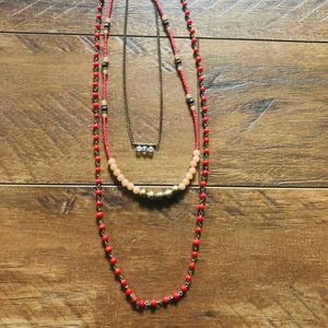 Caribbean Coral 3 tiered necklace